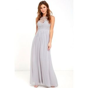 Lulus So Far Down Gray Lace Maxi Chiffon Dress